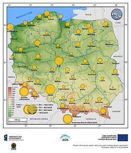Maksymalne średnie 10-min prędkości wiatru w sierpniu