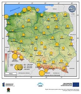 Maksymalne średnie 10-min prędkości wiatru we wrześniu