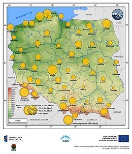 Maksymalne średnie 10-min prędkości wiatru w październiku