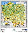 Maksymalne średnie 10-min prędkości wiatru w listopadzie
