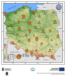 Maksymalne prędkości wiatru w porywach na wysokości 10 m npg w terenie otwartym o prawdopodobieństwie wystąpienia 1% - lato