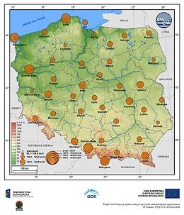 Maksymalne prędkości wiatru w porywach na wysokości 10 m npg w terenie otwartym o prawdopodobieństwie wystąpienia 1% - wiosna