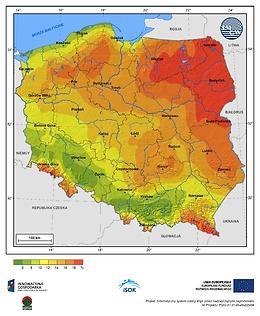 Prawdopodobieństwo wystąpienia warunków sprzyjających tworzeniu się szadzi w półroczu chłodnym (od października do kwietnia)