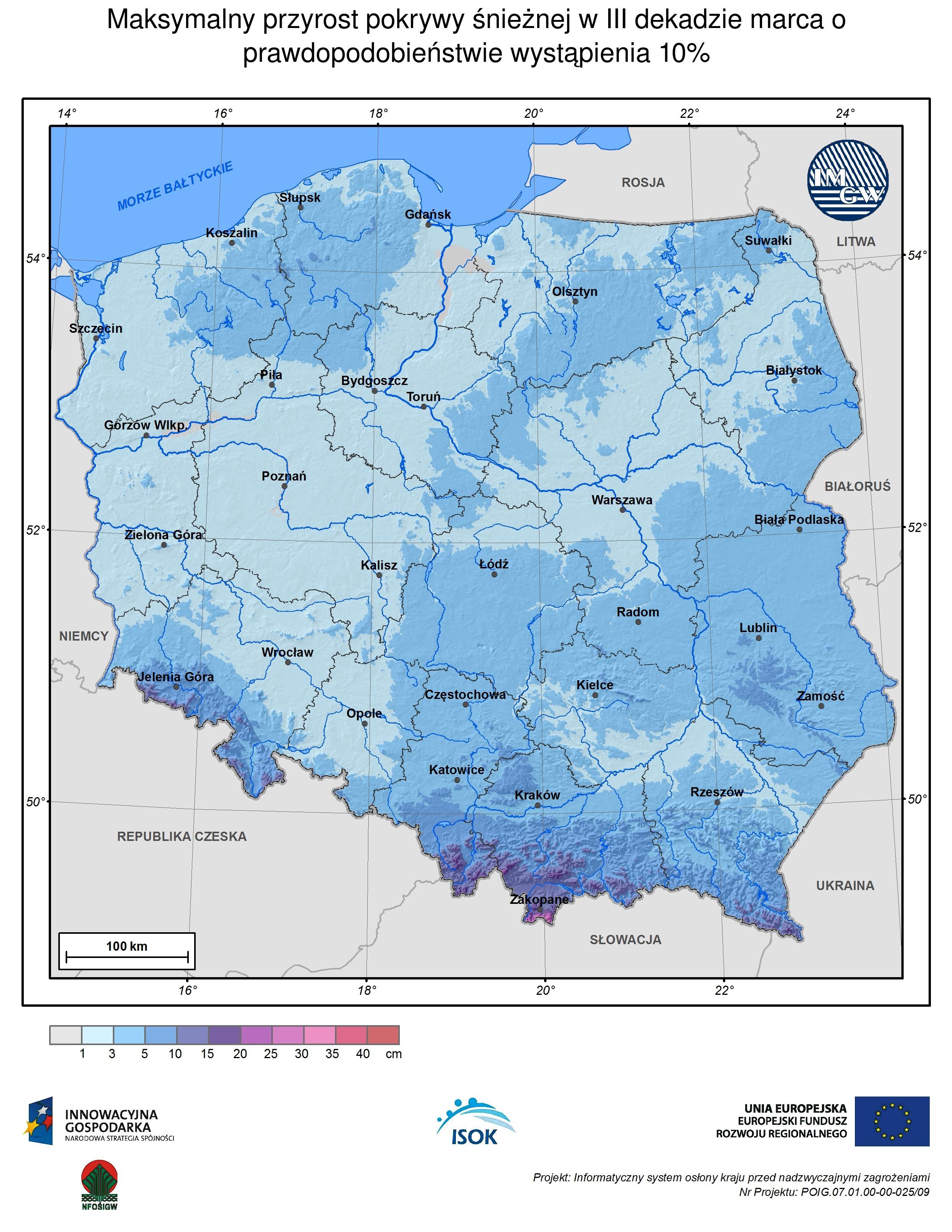 Maksymalny przyrost pokrywy śnieżnej w III dekadzie marca o prawdopodobieństwie wystąpienia 10%
