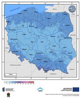 Maksymalny przyrost pokrywy śnieżnej w I dekadzie stycznia o prawdopodobieństwie wystąpienia 25%