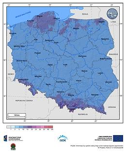 Maksymalny przyrost pokrywy śnieżnej w I dekadzie stycznia o prawdopodobieństwie wystąpienia 10%