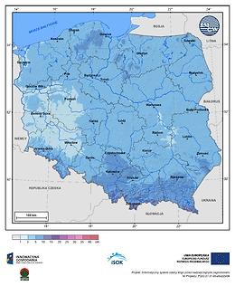 Maksymalny przyrost pokrywy śnieżnej w II dekadzie stycznia o prawdopodobieństwie wystąpienia 25%