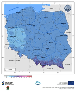 Maksymalny przyrost pokrywy śnieżnej w II dekadzie stycznia o prawdopodobieństwie wystąpienia 10%
