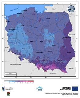 Maksymalny przyrost pokrywy śnieżnej w II dekadzie stycznia o prawdopodobieństwie wystąpienia 1%
