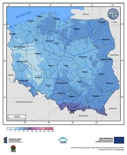 Maksymalny przyrost pokrywy śnieżnej w III dekadzie stycznia o prawdopodobieństwie wystąpienia 25%