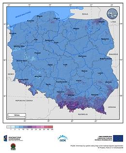 Maksymalny przyrost pokrywy śnieżnej w III dekadzie stycznia o prawdopodobieństwie wystąpienia 10%