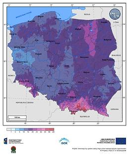 Maksymalny przyrost pokrywy śnieżnej w III dekadzie stycznia o prawdopodobieństwie wystąpienia 1%