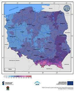 Maksymalny przyrost pokrywy śnieżnej w I dekadzie lutego o prawdopodobieństwie wystąpienia 1%