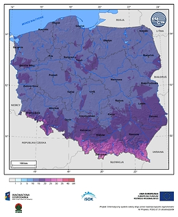 Maksymalny przyrost pokrywy śnieżnej w II dekadzie lutego o prawdopodobieństwie wystąpienia 1%
