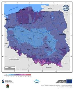 Maksymalny przyrost pokrywy śnieżnej w III dekadzie lutego o prawdopodobieństwie wystąpienia 1%