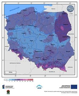 Maksymalny przyrost pokrywy śnieżnej w I dekadzie marca o prawdopodobieństwie wystąpienia 1%