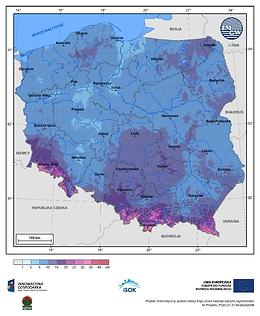 Maksymalny przyrost pokrywy śnieżnej w III dekadzie marca o prawdopodobieństwie wystąpienia 1%