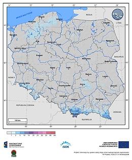 Maksymalny przyrost pokrywy śnieżnej w I dekadzie kwietnia o prawdopodobieństwie wystąpienia 25%