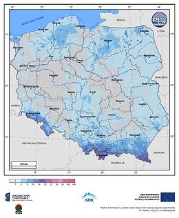 Maksymalny przyrost pokrywy śnieżnej w I dekadzie kwietnia o prawdopodobieństwie wystąpienia 10%