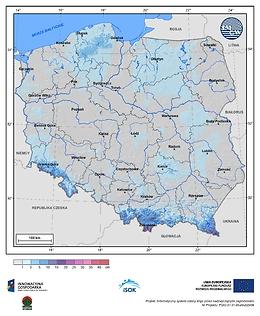 Maksymalny przyrost pokrywy śnieżnej w II dekadzie kwietnia o prawdopodobieństwie wystąpienia 10%
