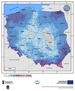 Maksymalny przyrost pokrywy śnieżnej w II dekadzie kwietnia o prawdopodobieństwie wystąpienia 1%