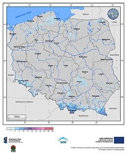 Maksymalny przyrost pokrywy śnieżnej w III dekadzie kwietnia o prawdopodobieństwie wystąpienia 10%