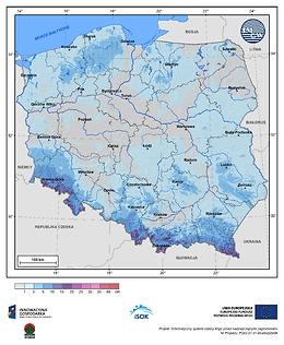Maksymalny przyrost pokrywy śnieżnej w III dekadzie kwietnia o prawdopodobieństwie wystąpienia 1%