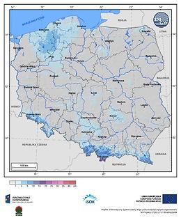 Maksymalny przyrost pokrywy śnieżnej w I dekadzie maja o prawdopodobieństwie wystąpienia 1%
