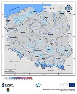 Maksymalny przyrost pokrywy śnieżnej w II dekadzie maja o prawdopodobieństwie wystąpienia 1%