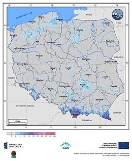 Maksymalny przyrost pokrywy śnieżnej w III dekadzie maja o prawdopodobieństwie wystąpienia 1%