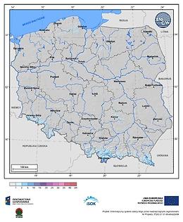 Maksymalny przyrost pokrywy śnieżnej w III dekadzie października o prawdopodobieństwie wystąpienia 25%