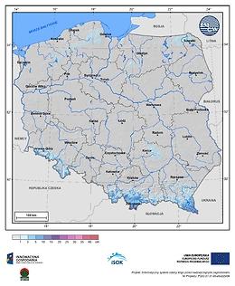 Maksymalny przyrost pokrywy śnieżnej w III dekadzie października o prawdopodobieństwie wystąpienia 10%