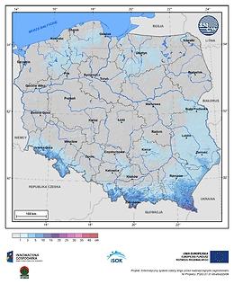 Maksymalny przyrost pokrywy śnieżnej w I dekadzie listopada o prawdopodobieństwie wystąpienia 10%