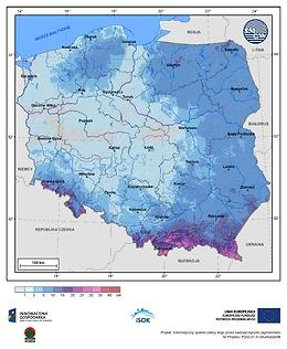 Maksymalny przyrost pokrywy śnieżnej w I dekadzie listopada o prawdopodobieństwie wystąpienia 1%