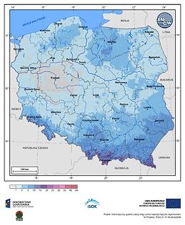 Maksymalny przyrost pokrywy śnieżnej w II dekadzie listopada o prawdopodobieństwie wystąpienia 10%