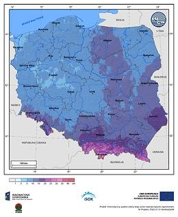 Maksymalny przyrost pokrywy śnieżnej w II dekadzie listopada o prawdopodobieństwie wystąpienia 1%