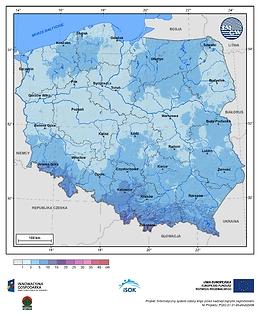 Maksymalny przyrost pokrywy śnieżnej w III dekadzie listopada o prawdopodobieństwie wystąpienia 25%