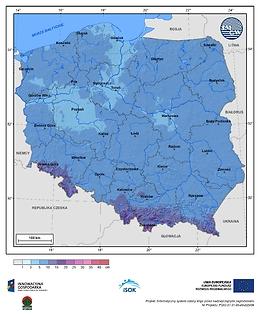 Maksymalny przyrost pokrywy śnieżnej w III dekadzie listopada o prawdopodobieństwie wystąpienia 10%
