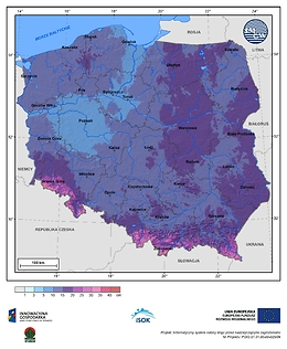 Maksymalny przyrost pokrywy śnieżnej w III dekadzie listopada o prawdopodobieństwie wystąpienia 1%