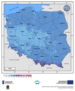 Maksymalny przyrost pokrywy śnieżnej w I dekadzie grudnia o prawdopodobieństwie wystąpienia 10%