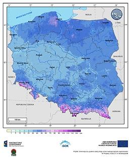 Maksymalna grubość pokrywy śnieżnej w I dekadzie stycznia o prawdopodobieństwie wystąpienia 10%