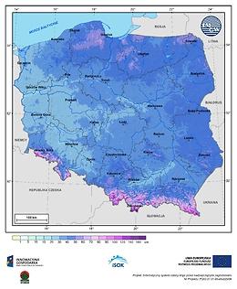 Maksymalna grubość pokrywy śnieżnej w II dekadzie stycznia o prawdopodobieństwie wystąpienia 10%