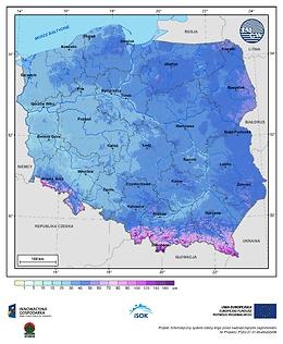 Maksymalna grubość pokrywy śnieżnej w III dekadzie stycznia o prawdopodobieństwie wystąpienia 25%
