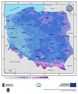 Maksymalna grubość pokrywy śnieżnej w III dekadzie stycznia o prawdopodobieństwie wystąpienia 10%