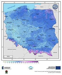 Maksymalna grubość pokrywy śnieżnej w I dekadzie lutego o prawdopodobieństwie wystąpienia 25%