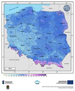 Maksymalna grubość pokrywy śnieżnej w II dekadzie lutego o prawdopodobieństwie wystąpienia 25%