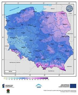 Maksymalna grubość pokrywy śnieżnej w II dekadzie lutego o prawdopodobieństwie wystąpienia 10%