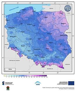 Maksymalna grubość pokrywy śnieżnej w III dekadzie lutego o prawdopodobieństwie wystąpienia 10%