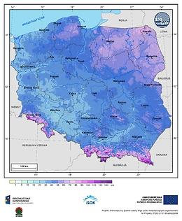 Maksymalna grubość pokrywy śnieżnej w I dekadzie marca o prawdopodobieństwie wystąpienia 10%