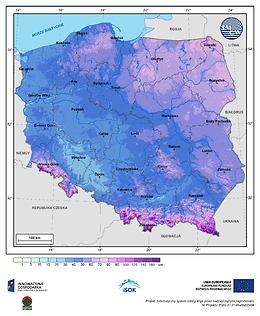 Maksymalna grubość pokrywy śnieżnej w I dekadzie marca o prawdopodobieństwie wystąpienia 1%
